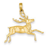 Deer Running Pendant 14k Gold C3524