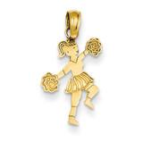 Cheerleader with Pom-Poms Pendant 14k Gold C3552