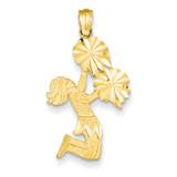 Diamond Cut Cheerleader Charm 14k Gold C3553
