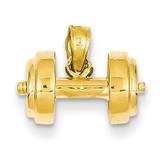 3-D Single Barbell Pendant 14k Gold C3562