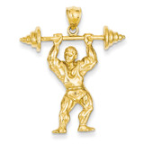 Bodybuilder with Weights Pendant 14k Gold C3565