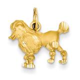 Poodle Dog Charm 14k Gold C36