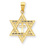Star of David with Cross Pendant 14k Gold Diamond-cut C3740