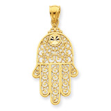 Filigree Chamseh Pendant 14k Gold Diamond-cut C3743