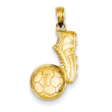 Soccer Ball and Shoe Pendant 14k Gold C3761