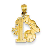 #1 Soccer Story with Cleats and Ball Pendant 14k Gold C3762