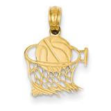 Basketball in Net Pendant 14k Gold C3776