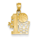 #1 Basketball Story with Hoop Pendant 14k Gold C3779