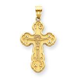 Satin Crucifix Pendant 14k Gold C3837