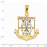 Diamond-cut with Textured Mariner's Cross Pendant 14k Tri-Color Gold C3933