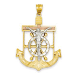 Diamond-cut with Textured Mariner's Cross Pendant 14k Tri-Color Gold C3933