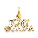 I Love My Grandma Charm 14k Gold C397