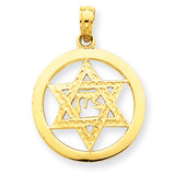 Jewish Chi in Star of David Pendant 14k Gold C3986