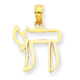 Chai Cut-out Pendant 14k Gold C3991