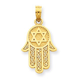 Jewish Hand of God with Star of David Pendant 14k Gold C3993