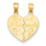 Best Friends Heart Break Apart Pendants 14k Gold C4024