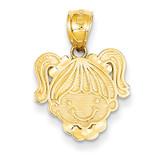 Girl Head Pendant 14k Gold Polished C4028