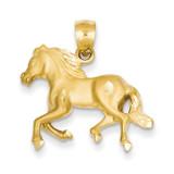 Horse Pendant 14k Gold Diamond-cut C4067