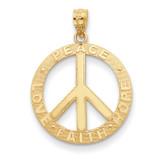 Peace Hope Faith Love Peace Sign Pendant 14k Gold C4170