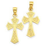 Reversible Passion Cross Pendant 14k Gold C4175