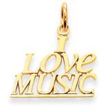 I Love Music Charm 14k Gold C418