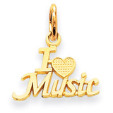 I Love Music Charm 14k Gold C423