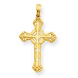 Stick Cross on Ornate Cross Pendant 14k Gold C4244