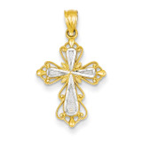Rhodium Diamond-cut Cross Pendant 14k Gold C4253