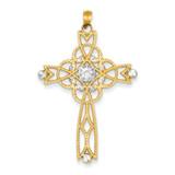 Rhodium Diamond-cut Beaded Trim Infinity Cross Pendant 14k Gold C4309