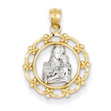 Rhodium Mother Holding Baby Pendant 14k Gold C4403