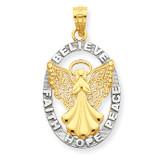 Rhodium Believe Peace Faith Hope Angel Pendant 14k Gold C4406