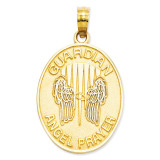 Rhodium Reversible Prayer Guardian Angel Pendant 14k Gold C4410