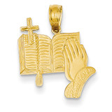 Bible, Praying Hands, and Cross Pendant 14k Gold C4419