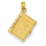 3-D Moveable Pages Serenity Prayer Book Pendant 14k Gold C4424