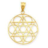 Star of David Circle Pendant 14k Gold C4453