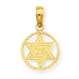 Star of David in Circle Frame Pendant 14k Gold C4458
