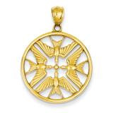 Polished Doves in Circle Pendant 14k Gold C4495