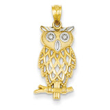Rhodium Plated Diamond Cut Owl Pendant 14k Gold C4496