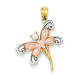 Rhodium Plated Diamond-cut Dragonfly Pendant 14k Two-Tone Gold C4500