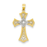 Diamond-cut Cross Pendant 14k Gold Rhodium C4517