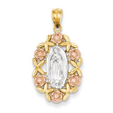 Rhodium Plated Guadalupe Pendant 14k Two-Tone Gold C4520