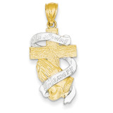 Rhodium Plated In Memory of Cross 14k Gold C4525