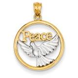 Rhodium Plated Polished Peace Dove Pendant 14k Gold C4527