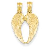 Break Apart Diamond-cut Wings Pendant 14k Gold C4528