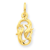 Pisces Zodiac Charm 14k Gold C487