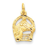 Diamond-cut Horse Head in Horseshoe Charm 14k Gold C556