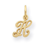 Casted Initial H Charm 14k Gold C564H