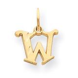 Diamond-cut Fancy Initial W Charm 14k Gold Solid Satin C565W