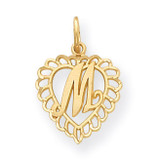 Initial M Charm 14k Gold C568M