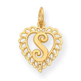 Initial S Charm 14k Gold C568S